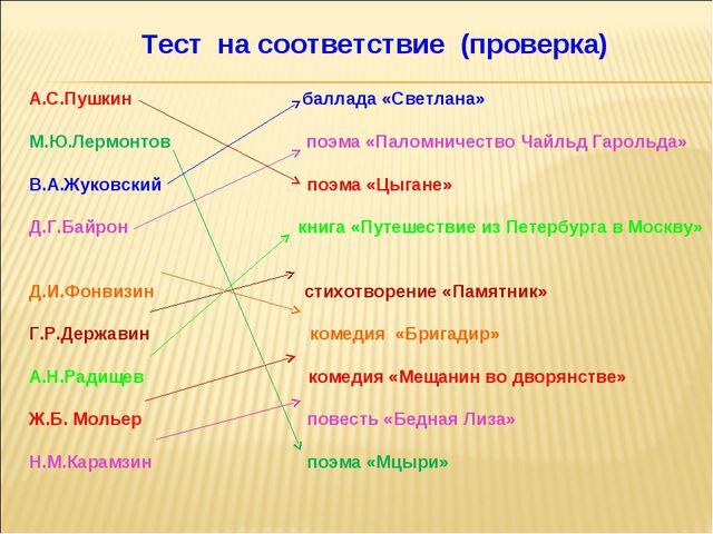 Тест на соответствие (проверка) А.С.Пушкин баллада «Светлана» М.Ю.Лермонтов...