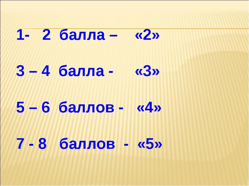 1- 2 балла – «2» 3 – 4 балла - «3» 5 – 6 баллов - «4» 7 - 8 баллов - «5»