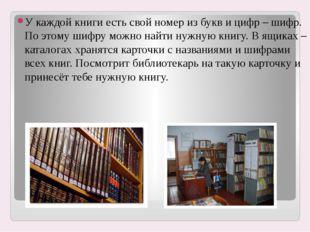 У каждой книги есть свой номер из букв и цифр – шифр. По этому шифру можно на