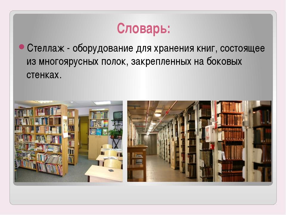 Словарь: Стеллаж - оборудование для хранения книг, состоящее измногоярусных...