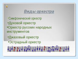 Виды оркестра Симфонический оркестр Джазовый оркестр Эстрадный оркестр Оркест
