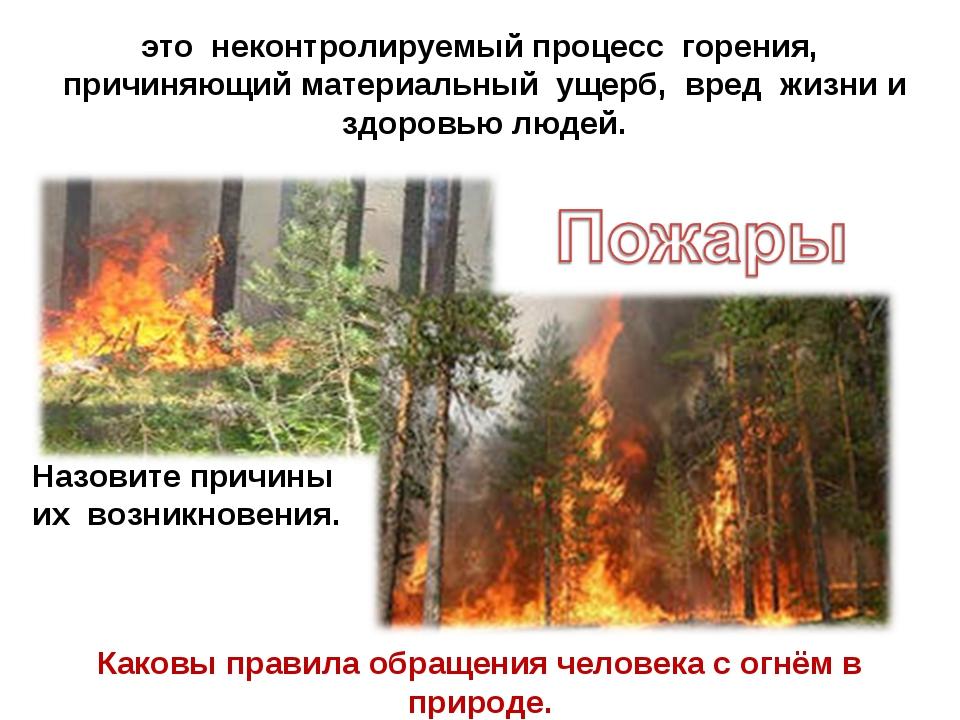 это неконтролируемый процесс горения, причиняющий материальный ущерб, вред жи...