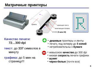 * Качество печати: 72…300 dpi текст: до 337 символов в минуту графика: до 5 м