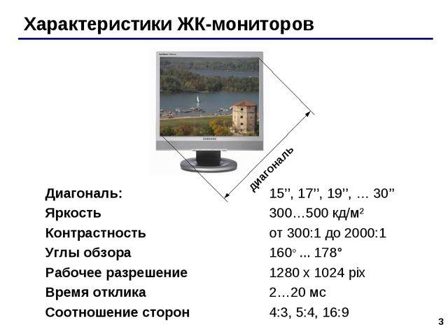 * Характеристики ЖК-мониторов Диагональ: 15'', 17'', 19'', … 30'' Яркость...
