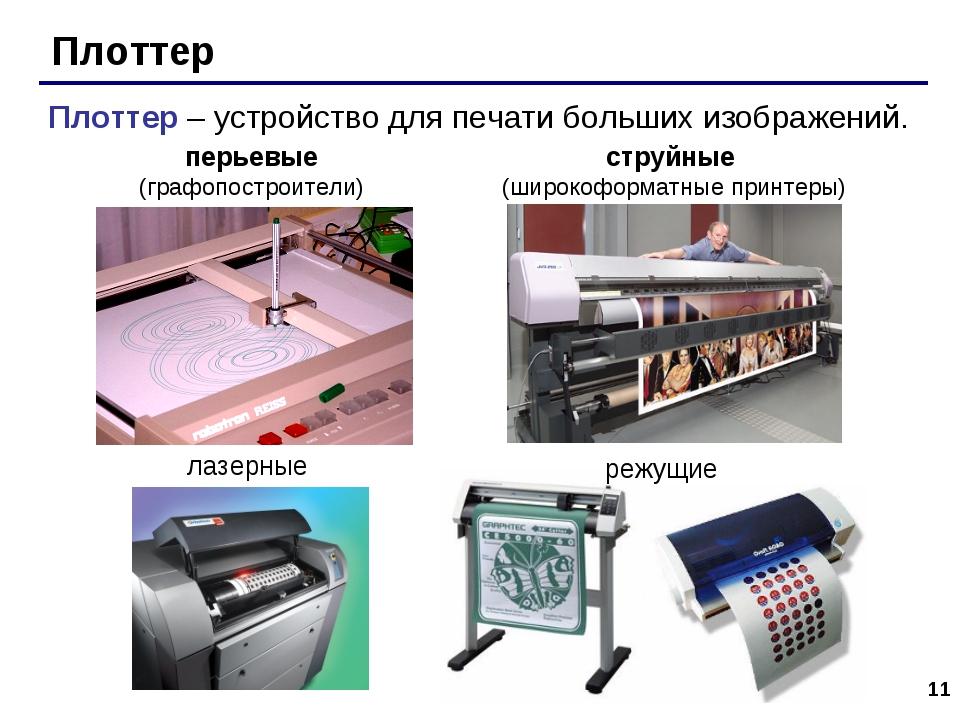 * Плоттер Плоттер – устройство для печати больших изображений. перьевые (граф...
