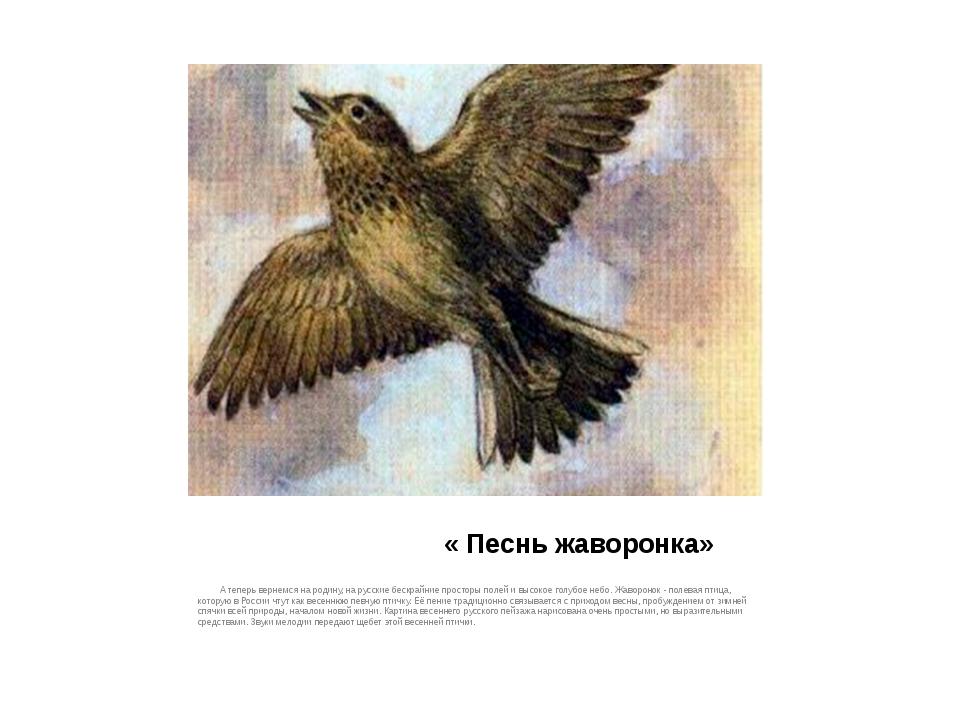 « Песнь жаворонка» А теперь вернемся на родину, на русские бескрайние прост...