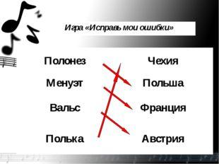 Игра «Исправь мои ошибки» ПолонезЧехия МенуэтПольша ВальсФранция ПолькаАв