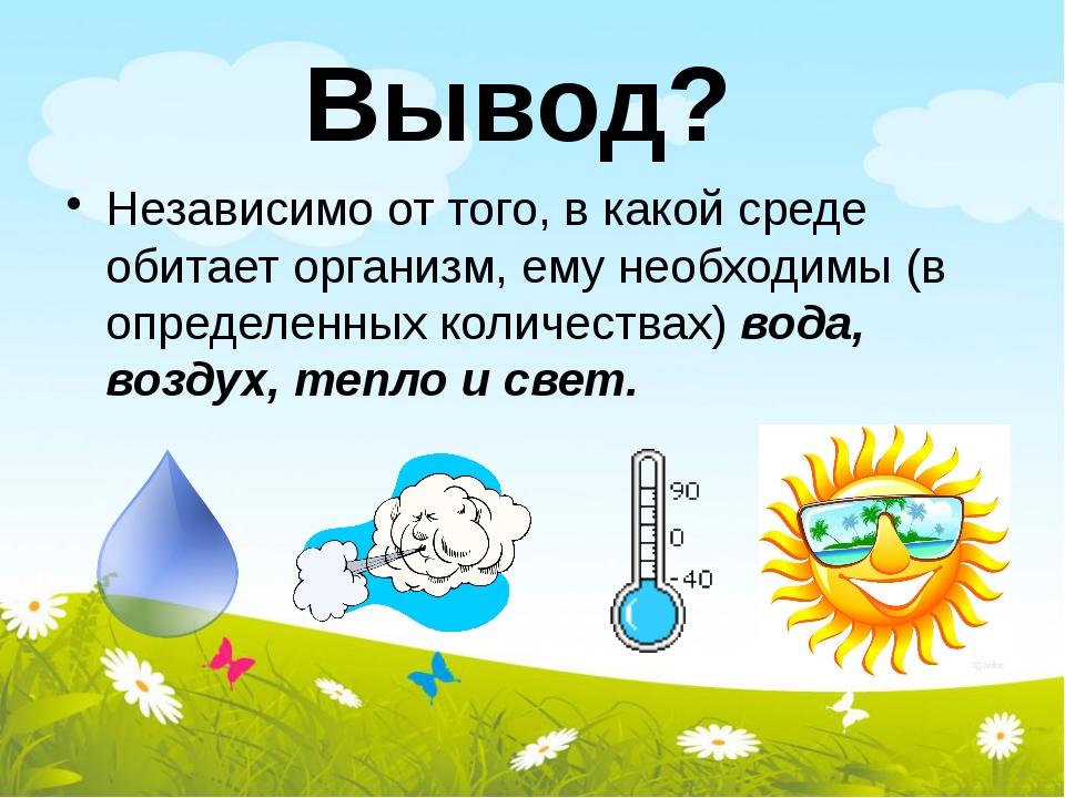 Вывод? Независимо от того, в какой среде обитает организм, ему необходимы (в...