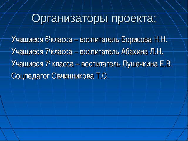 Организаторы проекта: Учащиеся 6б класса – воспитатель Борисова Н.Н. Учащиеся...