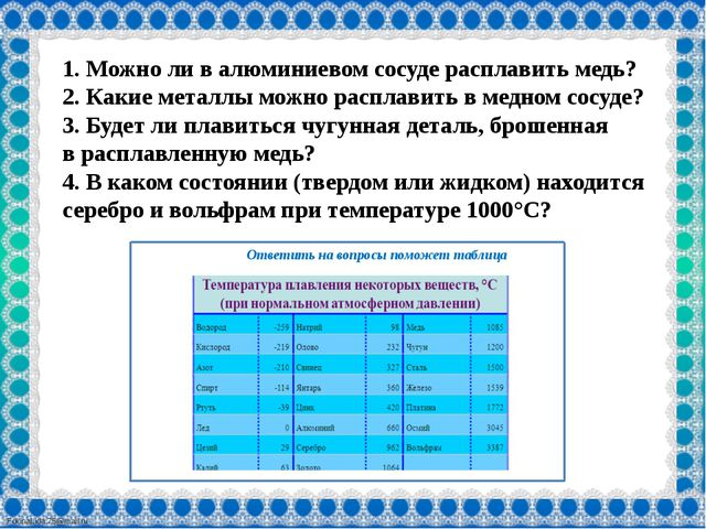 Ответить на вопросы поможет таблица 1. Можноли валюминиевом сосуде расплав...