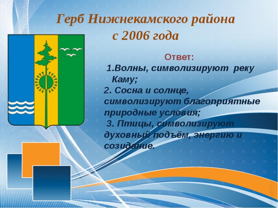 Герб Нижнекамского района с 2006 года Ответ: 1.Волны, символизируют реку Кам...