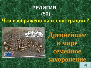 РЕЛИГИЯ (50) Что изображено на иллюстрации ? Древнейшее в мире семейное захор