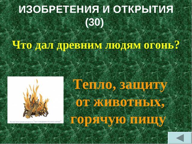 ИЗОБРЕТЕНИЯ И ОТКРЫТИЯ (30) Что дал древним людям огонь? Тепло, защиту от жив...