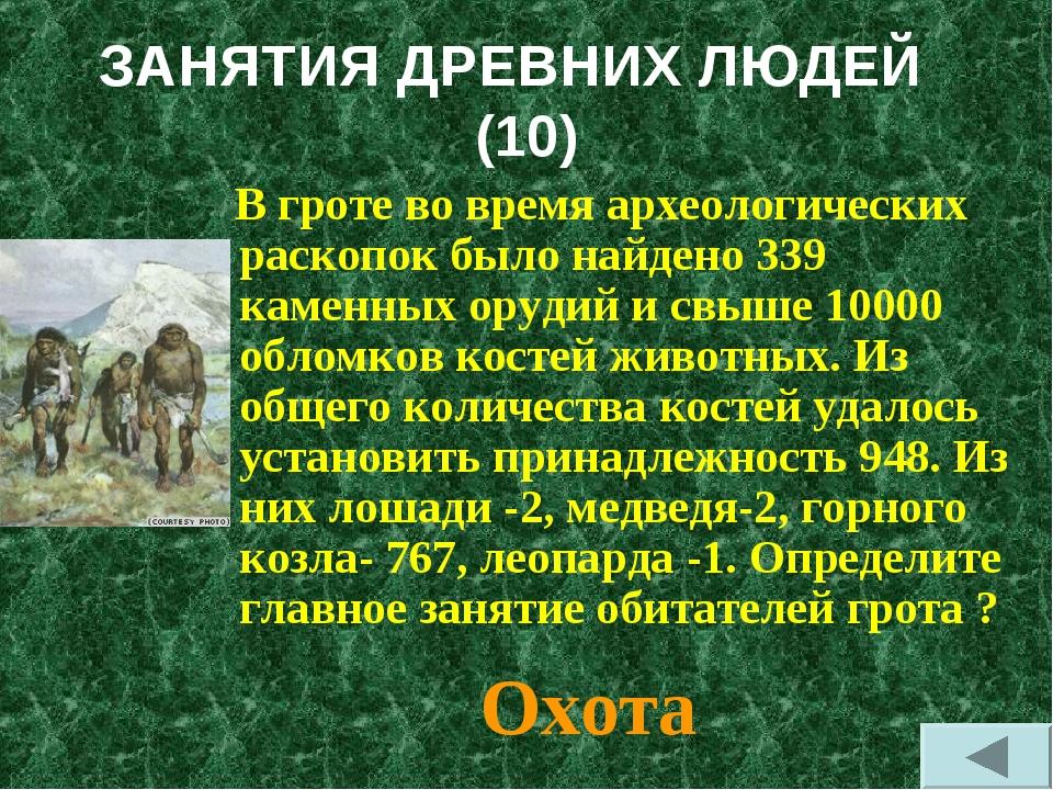 ЗАНЯТИЯ ДРЕВНИХ ЛЮДЕЙ (10) В гроте во время археологических раскопок было най...