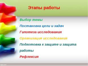 Этапы работы Выбор темы Постановка цели и задач Гипотеза исследования Организ