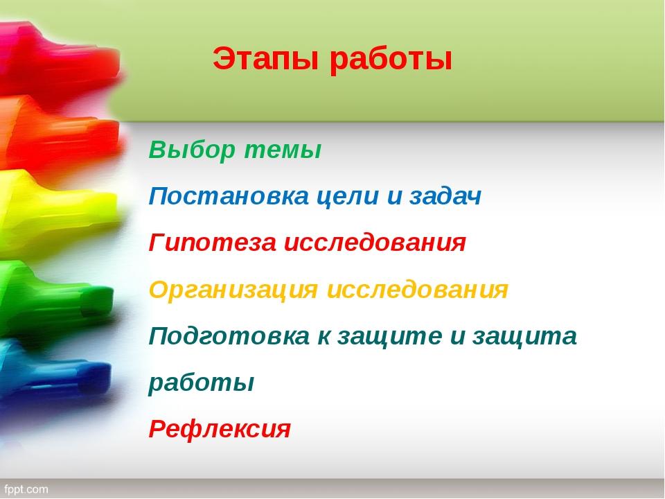 Этапы работы Выбор темы Постановка цели и задач Гипотеза исследования Организ...