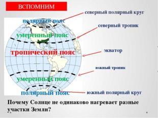 северный полярный круг экватор северный тропик южный полярный круг южный троп