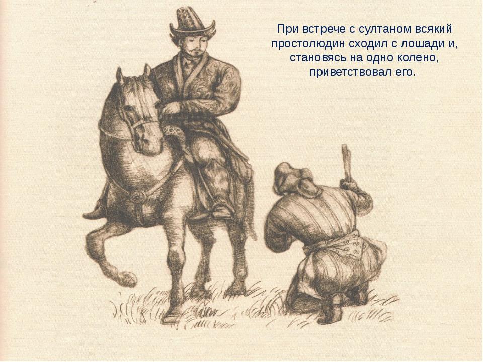 При встрече с султаном всякий простолюдин сходил с лошади и, становясь на одн...
