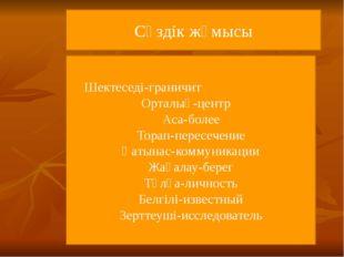 Сөздік жұмысы Шектеседі-граничит Орталық-центр Аса-более Торап-пересечение Қ
