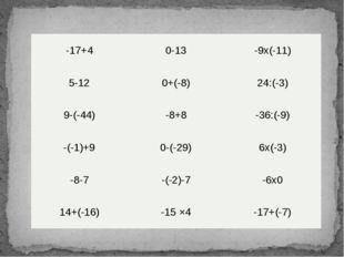 -17+4 0-13 -9х(-11) 5-12 0+(-8) 24:(-3) 9-(-44) -8+8 -36:(-9) -(-1)+9 0-(-29)
