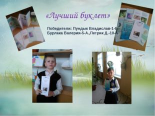 «Лучший буклет» Победители: Пундык Владислав-1-Б Бурлака Валерия-5-А.,Петрик