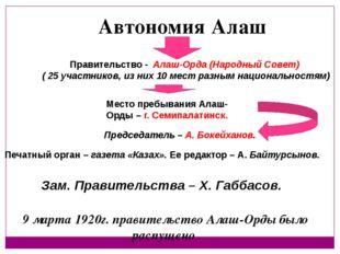 Правительство - Алаш-Орда (Народный Совет) ( 25 участников, из них 10 мест ра