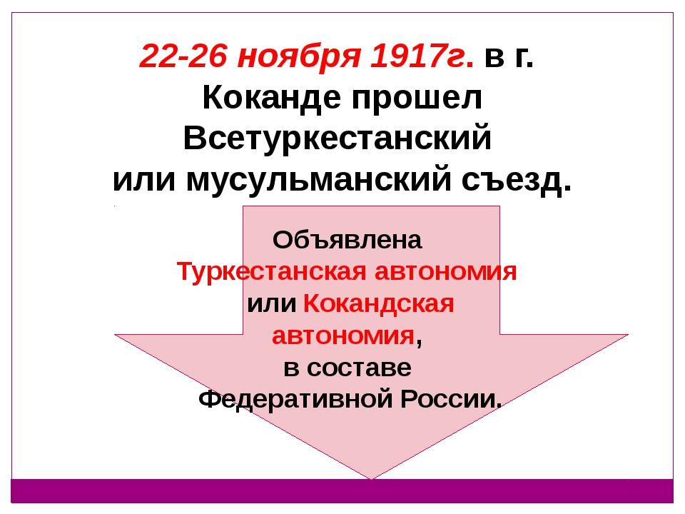 22-26 ноября 1917г. в г. Коканде прошел Всетуркестанский или мусульманский с...