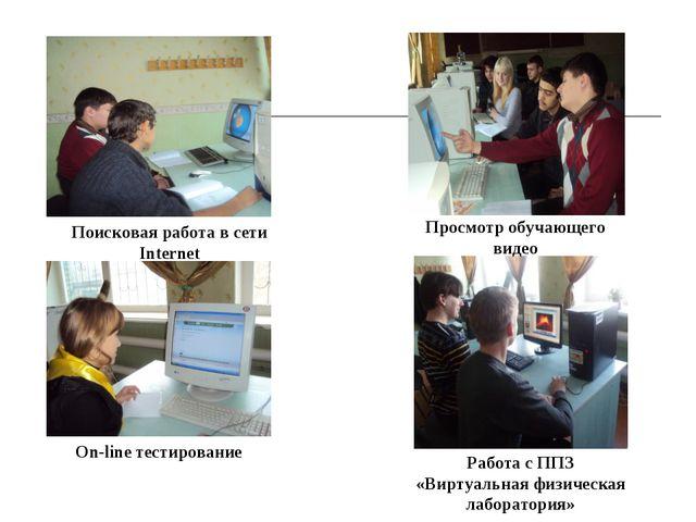 Поисковая работа в сети Internet On-line тестирование Работа с ППЗ «Виртуальн...