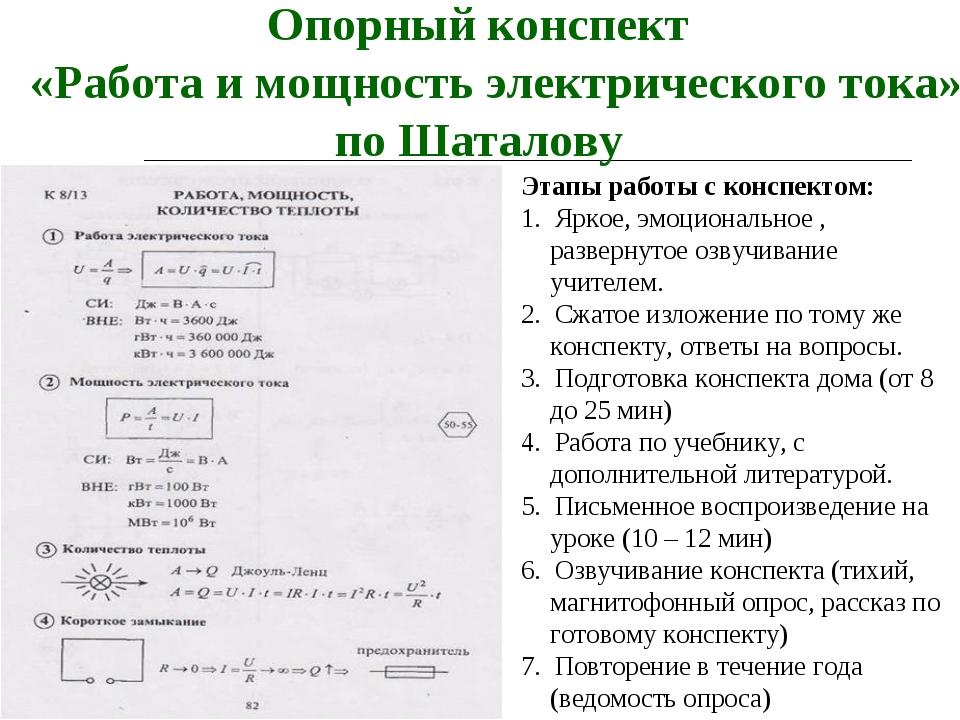 Опорный конспект «Работа и мощность электрического тока» по Шаталову Этапы ра...