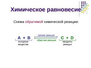 Химическое равновесие Схема обратимой химической реакции: А + В С + D прямая