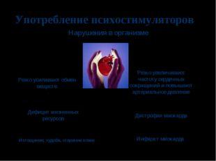 Употребление психостимуляторов Резко усиливают обмен веществ Дефицит жизненны