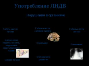 Употребление ЛНДВ Гибель клеток печени Хроническая недостаточность, нарушение
