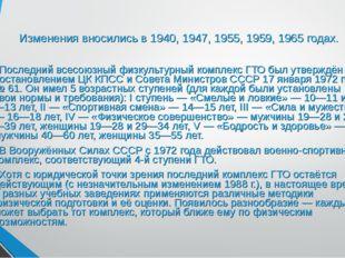Изменения вносились в 1940, 1947, 1955, 1959, 1965 годах. Последний всесоюзны