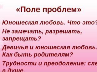 «Поле проблем» Юношеская любовь. Что это? Не замечать, разрешать, запрещать?