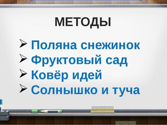 МЕТОДЫ Поляна снежинок Фруктовый сад Ковёр идей Солнышко и туча