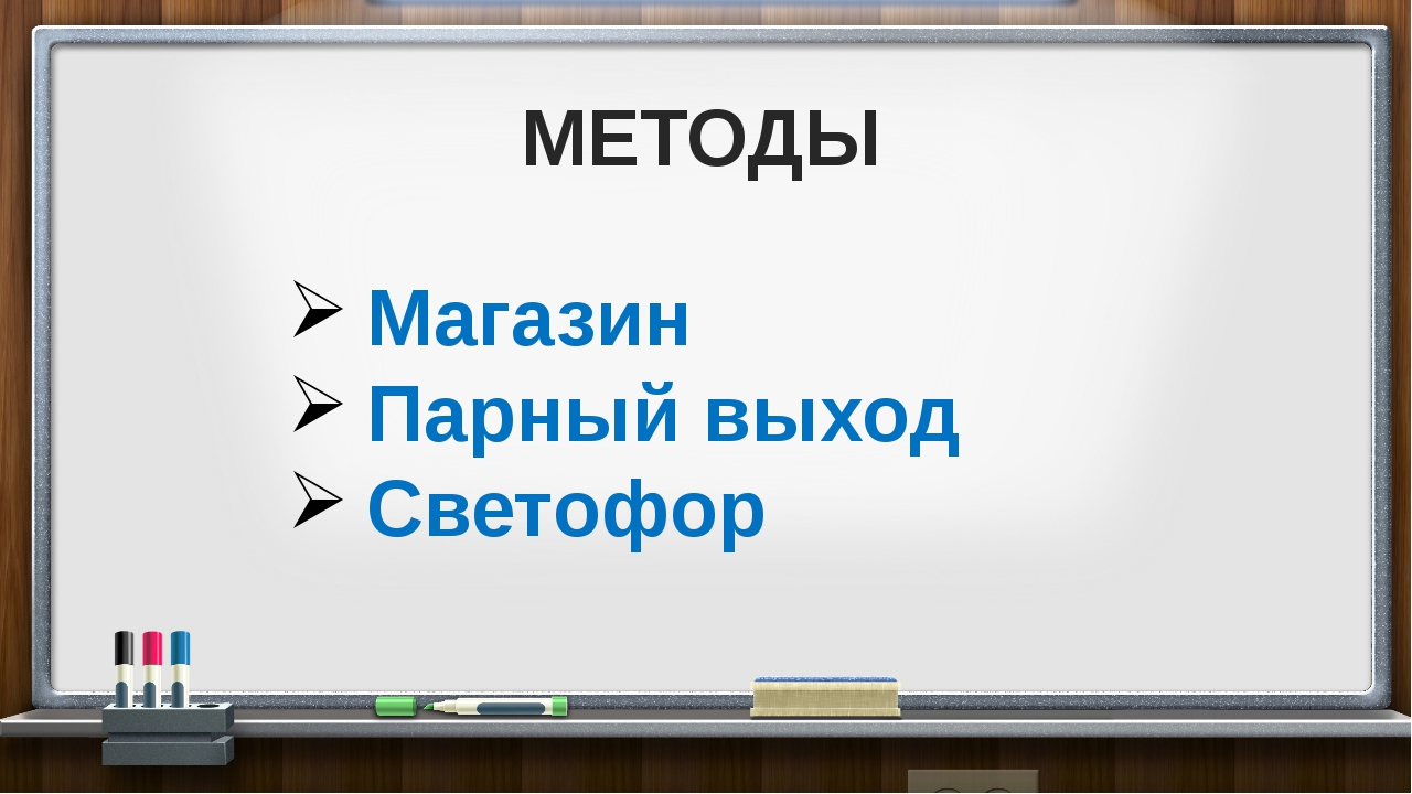 МЕТОДЫ Магазин Парный выход Светофор