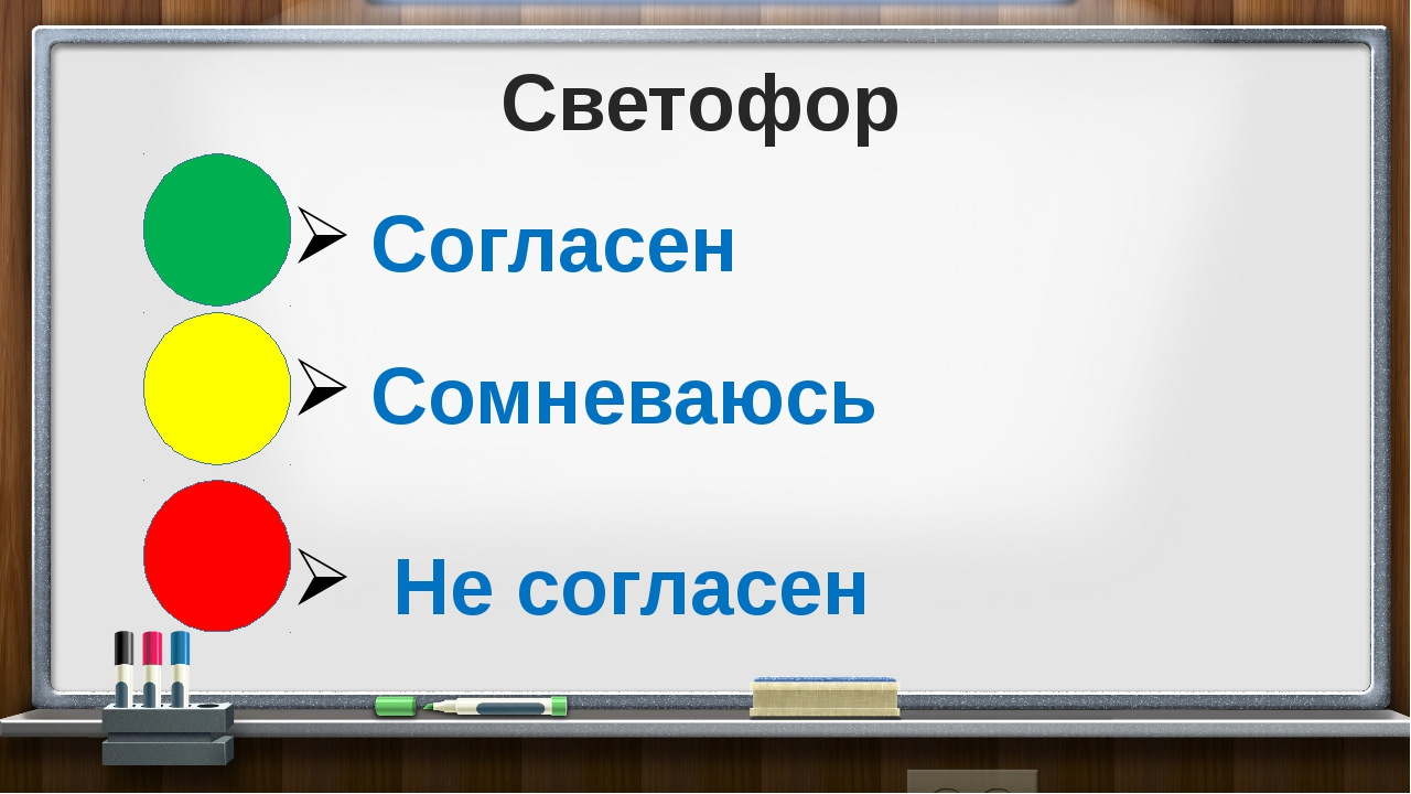 Светофор Согласен Сомневаюсь Не согласен