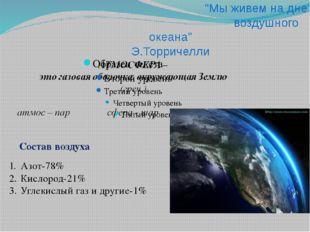 """""""Мы живем на дне воздушного океана"""" Э.Торричелли Состав воздуха Азот-78% Кис"""