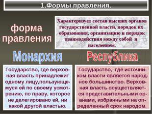 1.Формы правления. Характеризует состав высших органов государственной власти