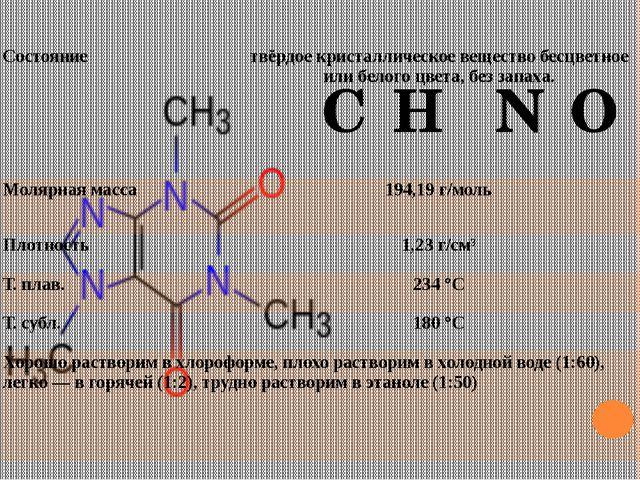 C₈H₁₀N₄O₂ Состояние твёрдое кристаллическое вещество бесцветное или белого цв...