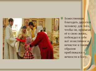 Божественная благодать даруется человеку для того, чтобы он, прилагая её в св