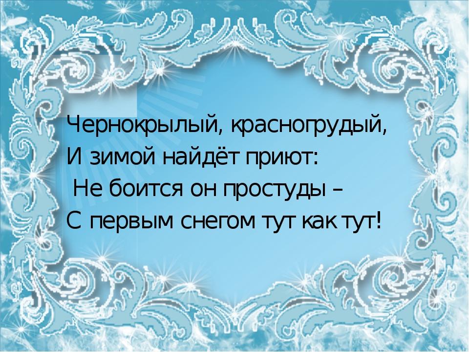 Чернокрылый, красногрудый, И зимой найдёт приют: Не боится он простуды – С п...