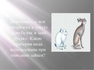Вспомните, о чем говорилось в тексте «Заяц-беляк и заяц-русак». Какие критери