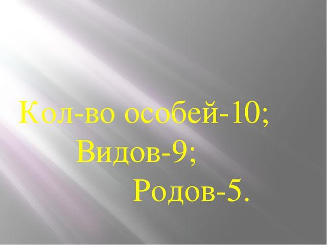 Кол-во особей-10; Видов-9; Родов-5.