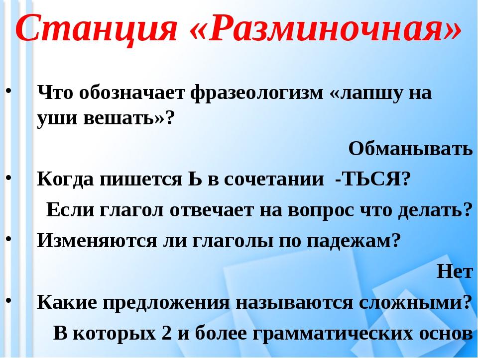 Станция «Разминочная» Что обозначает фразеологизм «лапшу на уши вешать»? Обма...