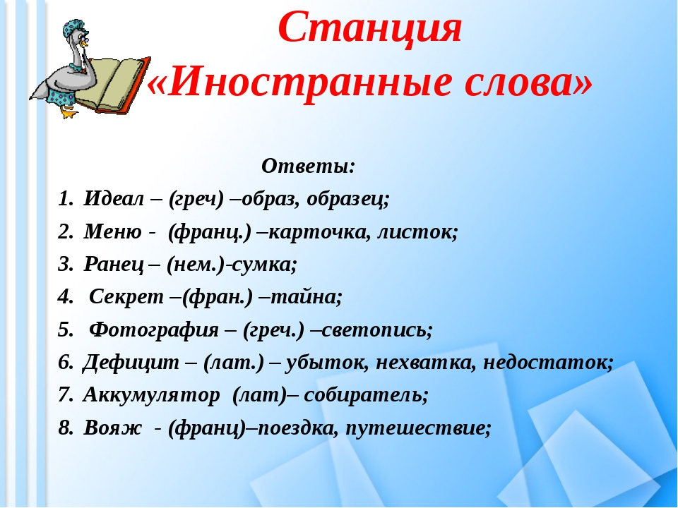 Станция «Иностранные слова» Ответы: Идеал – (греч) –образ, образец; Меню...