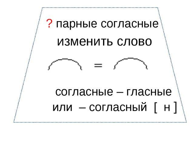 согласные – гласные или – согласный [ н ] ? парные согласные изменить слово