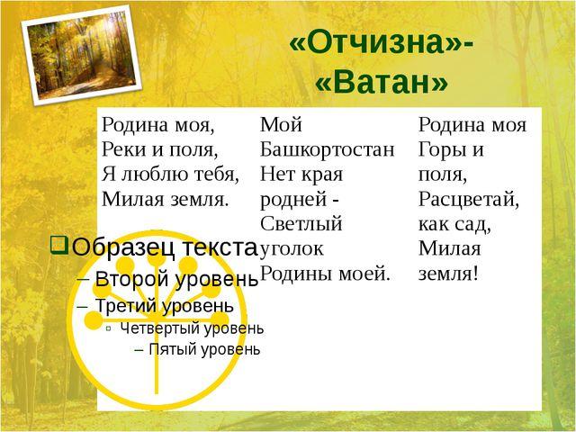 «Отчизна»- «Ватан» Родина моя, Реки и поля, Я люблю тебя, Милая земля. Мой Ба...