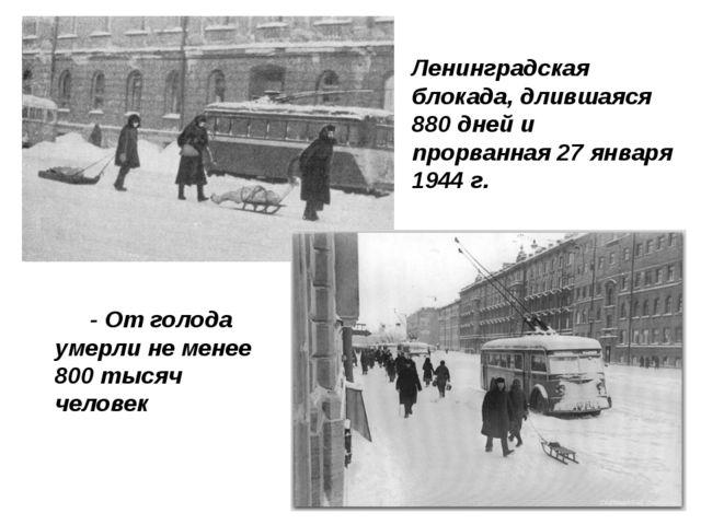 - От голода умерли не менее 800 тысяч человек  Ленинградская блокада, дливш...