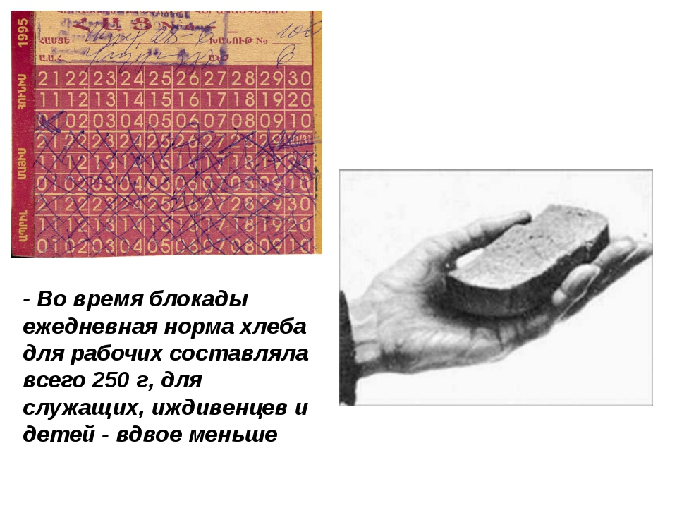 - Во время блокады ежедневная норма хлеба для рабочих составляла всего 250 г,...